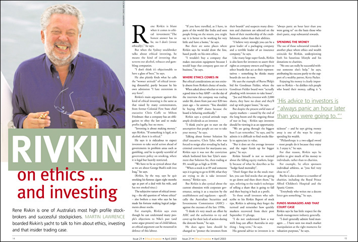 Ethical Investor cover story