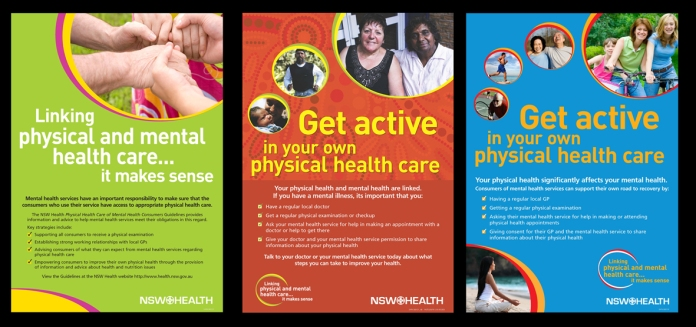 Physical Healthcare of Mental Health Consumers campaign posters