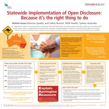 NSW Health & CEC Open Disclosure conference poster