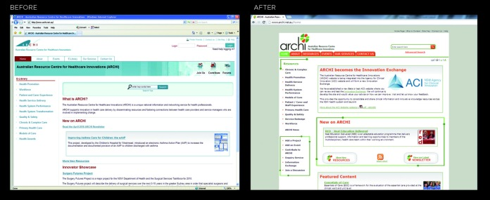 archi website before and after