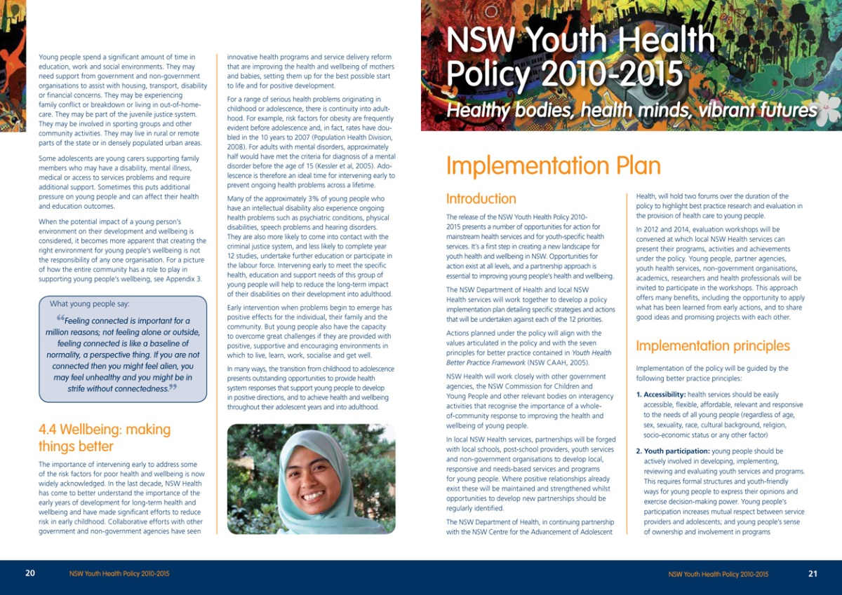 Youth Health Policy report spread 2