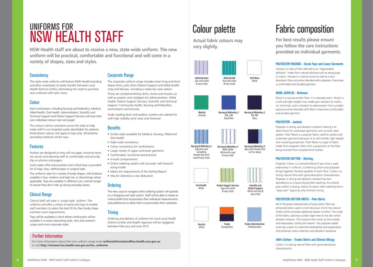 NSW Health Staff Uniform Catalogue spread 2