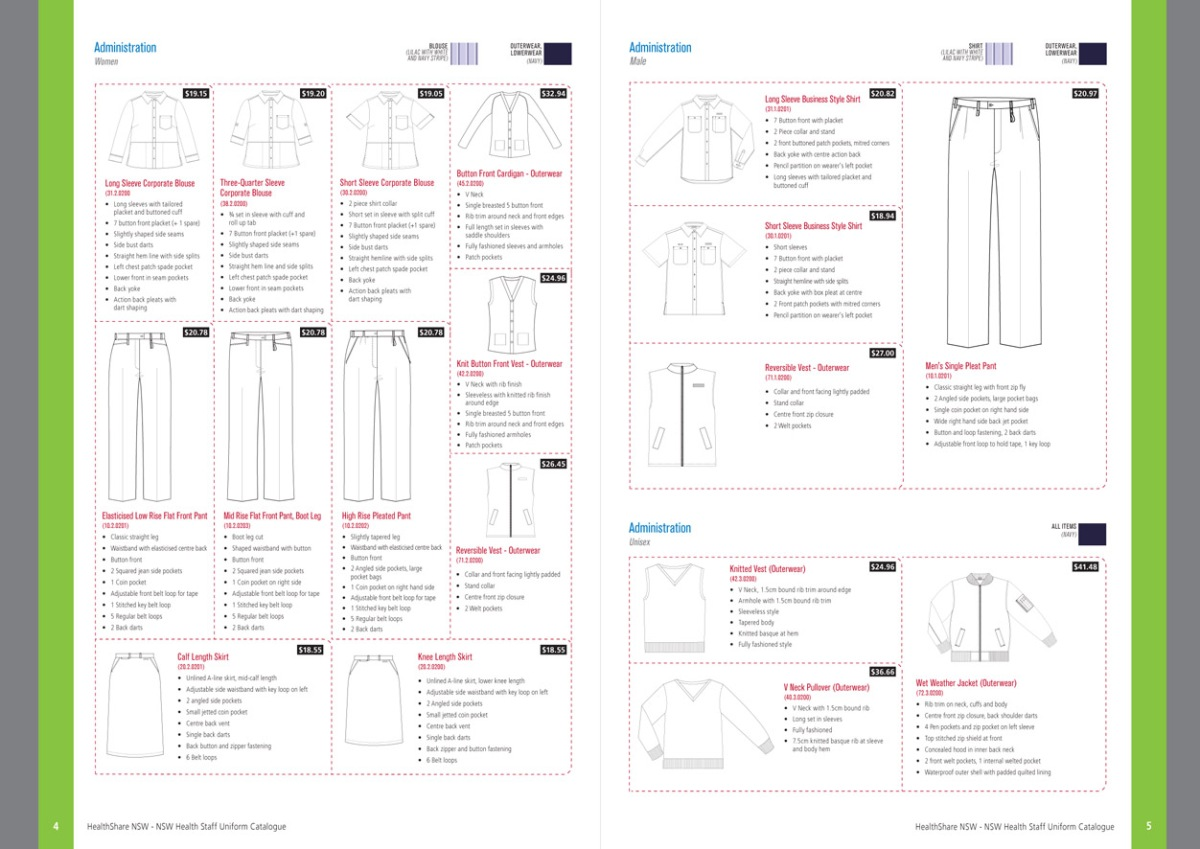NSW Health Staff Uniform Catalogue spread