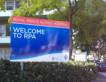 Royal Prince ALfred Hospital Welcome sign