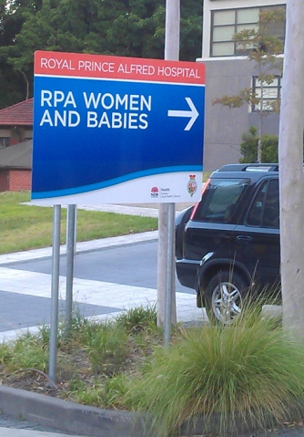 RPA Women and Babies wayfinding sign