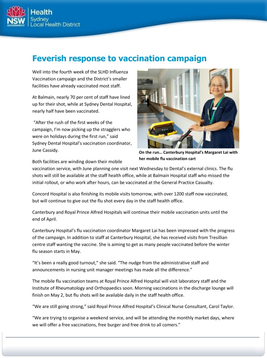 Feverish response to vaccination campaign