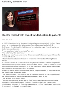 160414_C-B torch_Dr thrilled with award for dedication to patients