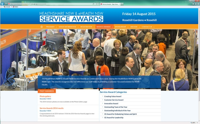 Expo 2015 website Service Awards