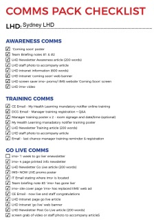 ims+ comms pack checklist - SLHD